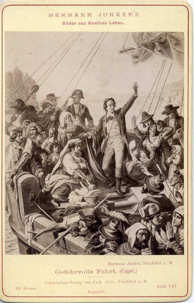 Abb. 2. Gefahrvolle Fahrt (Goethe vor Capri), gezeichnet von Hermann Junker, um 1875. Tafel aus dem zitierten Mappenwerk.
