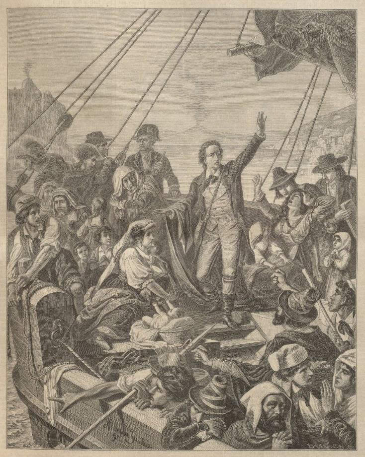 Abb. 3. Gefahrvolle Fahrt (Goethe vor Capri), Holzstich von E.H. Bothe nach einer Zeichnung von Hermann Junker, 1876. Abbildung aus der zitierten Literatur.